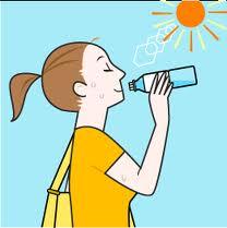 運動、スポーツ、水分、塩分補給、暑さ対策、熱中症、冷やす